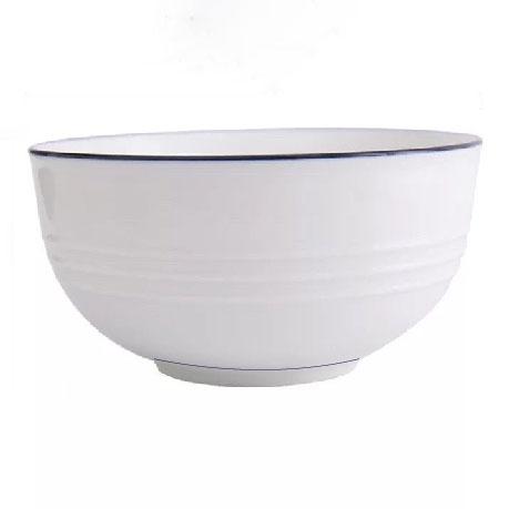 原點居家創意麵碗飯碗大小盤子創意簡約北歐餐盤飯碗陶瓷藍線家用(小飯碗)