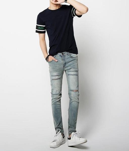 FINDSENSE Z1 韓國 時尚 潮 男 修身 復古藍 貓須割破 破洞 小腳