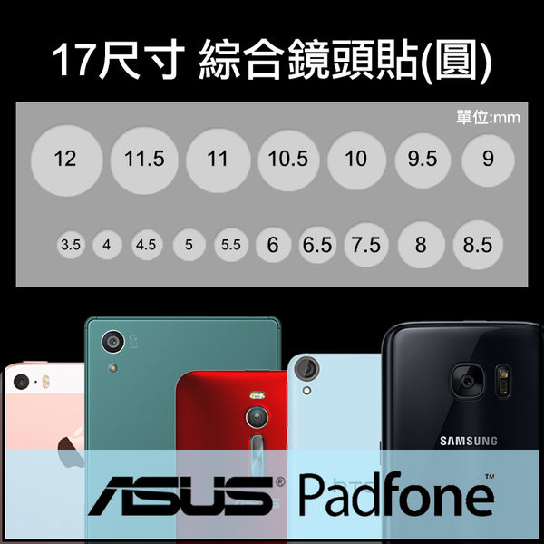 ▼綜合鏡頭保護貼 17入/手機/平板/攝影機/相機孔/ASUS PadFone mini A11 4.3吋/A12 4吋/PadFone S PF500KL