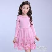 童裝春款女孩洋裝甜美公主裙兒童節日錶演禮服花朵裙【快出】