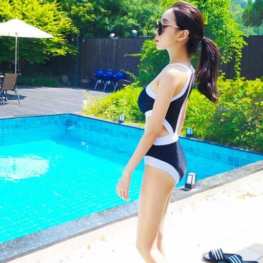 比基尼 je bikini黑色白色連身露腰削肩顯瘦 泳衣泳裝比基尼 【281j】