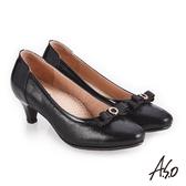 A.S.O 義式簡約 鏡面皮感蝴蝶裝飾高跟鞋