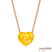 J'code真愛密碼 心花影 黃金墜子 送玫瑰鋼項鍊