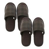 (組)英倫格紋保暖拖鞋-綠Lx1+XLx1