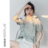 短款泡泡袖上衣女夏季韓系短袖設計感小眾荷葉邊t恤潮【小酒窩】
