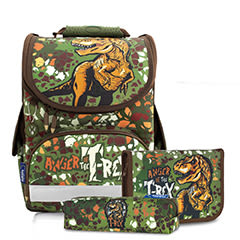 Tiger Family歐洲插畫家款小貴族超輕量護脊書包+鉛筆盒+文具袋-迷彩暴龍【黃嘉千 夏天真心推薦】