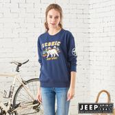 【JEEP】森林探險立體刺繡長袖TEE-男女適穿-深藍