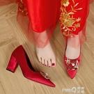 紅色婚鞋女粗跟龍鳳扣尖頭高跟鞋新娘秀禾鞋孕婦中跟中式結婚鞋子 (pinkq 時尚女裝)