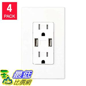 [107美國直購] 插座 Feit Electric 4-pack Wall Receptacle With USB Ports A1199668