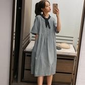 漂亮小媽咪 韓系落肩洋裝 【D8236】 波點 領結 短袖洋裝 孕婦裝 中袖 寬鬆 孕婦洋裝 長裙
