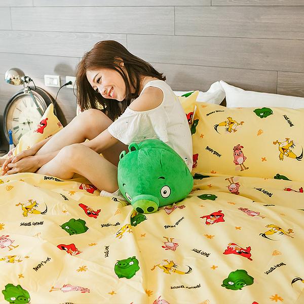 床包 / 雙人【憤怒鳥-兩色可選】含兩件枕套,可愛卡通Angry Birds,磨毛工法,戀家小舖台灣製