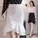 窄裙 蕾絲半身裙a字裙女夏2021新款緊身一步裙中長款不規則包臀魚尾裙 夏季新品