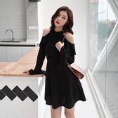 長袖洋裝5216秋裝款chic冷淡風收腰喇叭袖漏肩連身裙BZ1F-A1016-A紅粉佳人