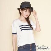 Victoria  不規則條紋變化寬鬆短袖線衫-女-白底藍條