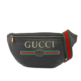【GUCCI】小牛皮 LOGO Print leather 腰包(黑色)  530412 0GCCT 8164