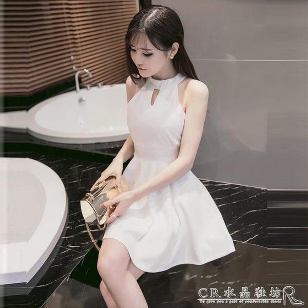夜店女裝性感小禮服露肩露背掛脖修身顯瘦收腰洋裝 『CR水晶鞋坊』