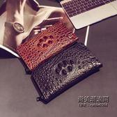 正韓男士小包錢包時尚鱷魚紋中長款錢包青皮質手抓錢包潮包 萬聖節服飾九折