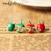 【Q20A84】魔衣子-滴釉不對稱設計小蘋果造型耳環