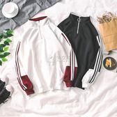 冬季男款運動上衣  秋季男生套頭加絨衛衣寬鬆韓版三杠運動休閒 俏女孩
