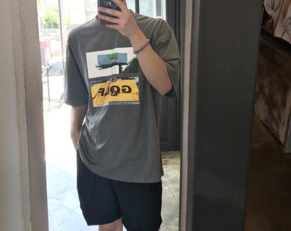 找到自己 MD 韓國 休閒 時尚 男 簡約 GOLF圖案印花 短袖T恤 特色T恤 字母T