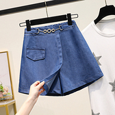 裙褲大呎碼短褲XL-5XL大碼女裝天絲闊腿牛仔短裙褲胖MM韓版休閑A字薄款熱褲3F124.1號公館