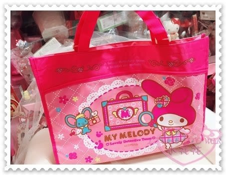 ♥小花花日本精品♥Hello Kitty 美樂蒂Melody畫板收納袋手提肩背袋購物袋防潑水粉色41093108