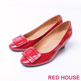 【RED HOUSE-蕾赫斯】方塊圖形楔型包鞋(共兩色)