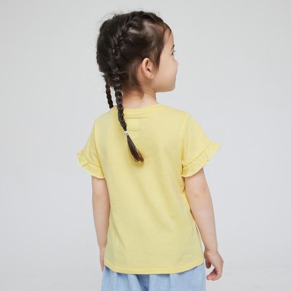 Gap女幼童 布萊納系列 甜美貼袋花邊袖圓領T恤 577358-黃色