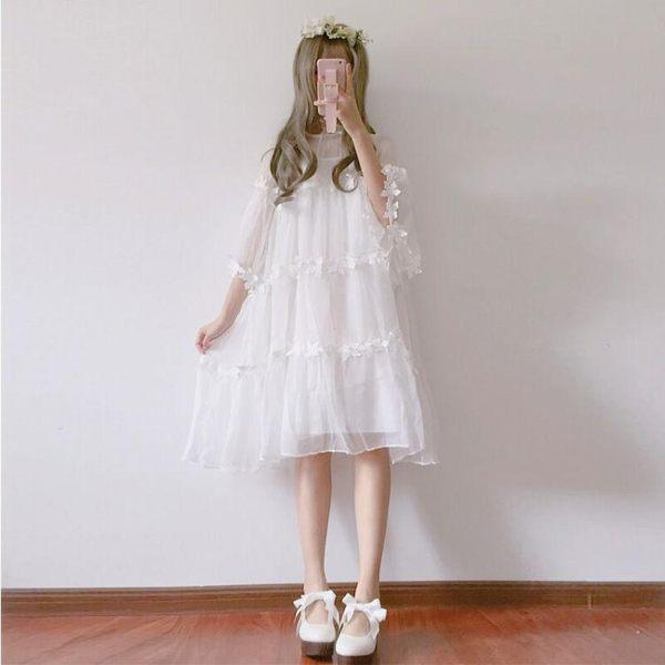 白色洋裝 春裝女裝日繫軟妹花邊網紗公主罩衫裙中長款仙女洋裝 吊帶裙子 〖korea時尚記