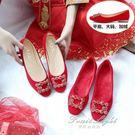 平底婚鞋女冬季紅色新娘鞋低跟大碼加絨孕婦結婚淺口單鞋 果果輕時尚