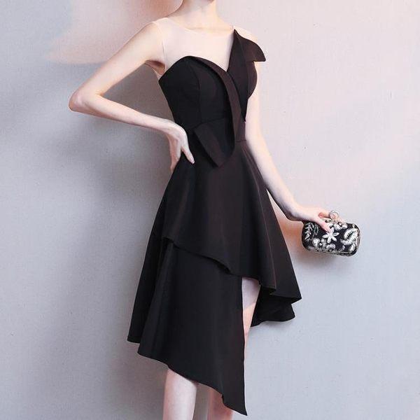 黑色晚禮服裙女2018新款夏季韓版短款宴會學生洋裝小禮服名媛顯瘦