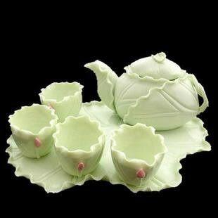 清新可人荷葉瓷裝飾茶具