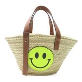 LOEWE 羅威 棕色牛皮拼Smiley草編肩背包 Basket Bag【二手名牌 BRAND OFF】