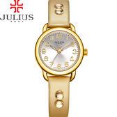 JULIUS 聚利時 搖滾甜心鉚釘錶帶腕錶-米色/28mm 【JA-933B】