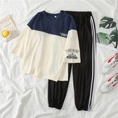 VK精品服飾 韓國風休閒拚色九分褲時尚運動套裝短袖褲裝