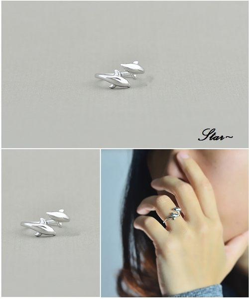 Star 銀色系列 -銀飾雙海豚設計指環(S925)-A6