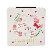 〔小禮堂〕Hello Kitty 皮質方形隨身雙面鏡《米》放大鏡.折鏡.春日新生活系列 4901610-12323