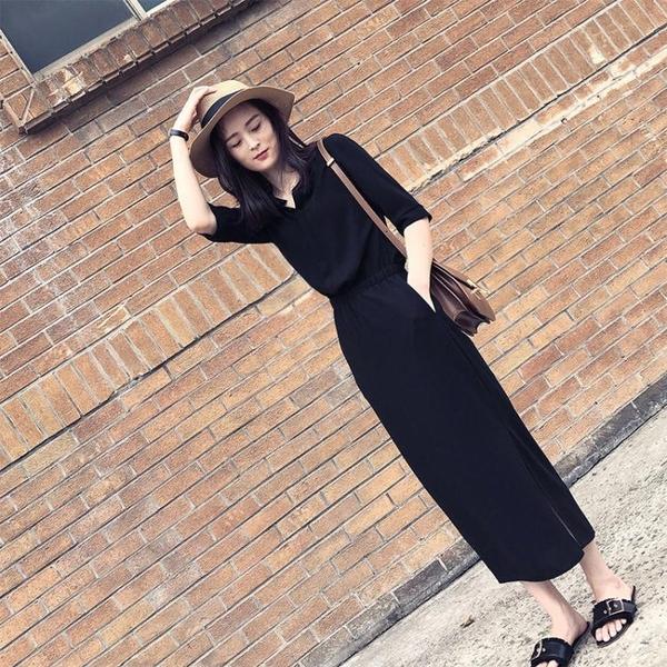 雪紡洋裝 赫本洋裝女夏新款遮肚子顯瘦顯高收腰氣質雪紡長裙法式桔梗 雙十二全館免運