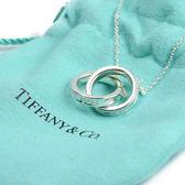 Tiffany&Co.正品全新 結婚 禮物 Tiffany1837 簡約刻字雙環圓圈純銀項鍊