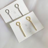 耳環 簡約 幾何 線條 一字 鑲鑽 金屬感 個性 氣質 耳釘 耳環【DD1907205】 BOBI  09/19