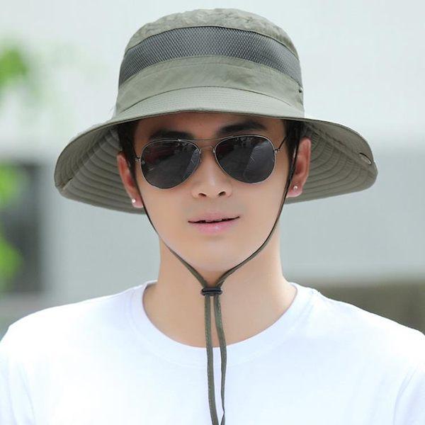 戶外釣魚登山帽子男士夏天遮陽帽韓版潮防曬帽太陽帽夏季漁夫帽男   蜜拉貝爾