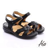 A.S.O 手縫氣墊 交叉真皮氣墊涼鞋  黑