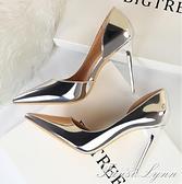 2021春夏季新款銀色少女側空法式高跟鞋細跟百搭性感尖頭網紅單鞋 范思蓮恩