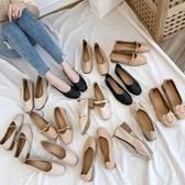 透氣單鞋春夏季平底韓版網紅百搭大碼豆豆鞋晚晚淺口仙女鞋潮