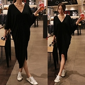 莫代爾長裙 韓國夏裝純色寬鬆顯瘦莫代爾V領連身裙女半截袖正韓不規則長裙潮-Ballet朵朵