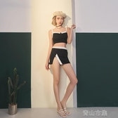 泳裝女少年齊 分體泳衣女遮肚顯瘦小胸聚攏性感裙式比基 青山市集