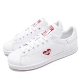 adidas 休閒鞋 Stan Smith W 白 紅 情人節 皮革 基本款 小愛心 百搭熱銷款 女鞋【ACS】 G27893