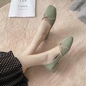 豆豆鞋仙女單鞋女淺口奶奶鞋2021年新款夏季瓢鞋粗跟百搭軟底豆豆鞋秋季 雲朵走走