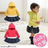 女童雙色拼接連帽長袖上衣 連身裙