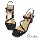 方頭鞋 溫柔小姐姐一字斜帶側釦高跟涼鞋-黑